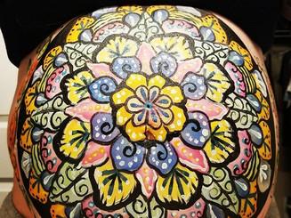 Belly bump painting! #mandala #fun #color #design #maternityshoot #babybump #pregnancy #makeup #bodyart #mehronmakeup #columbus