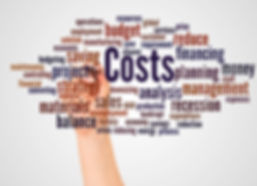 Costs word cloud and hand with marker co