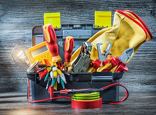 electric tools set in little toolbox on