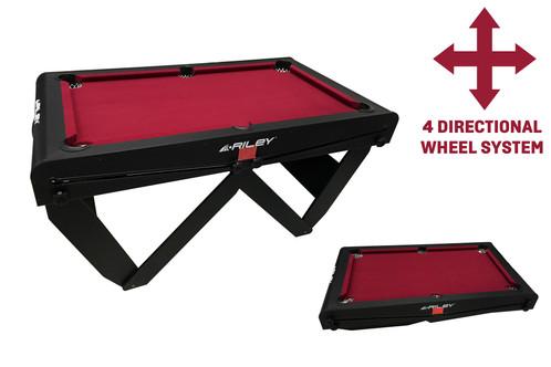 Riley Ft RollingLay Flat Folding Pool Table - Rolling pool table