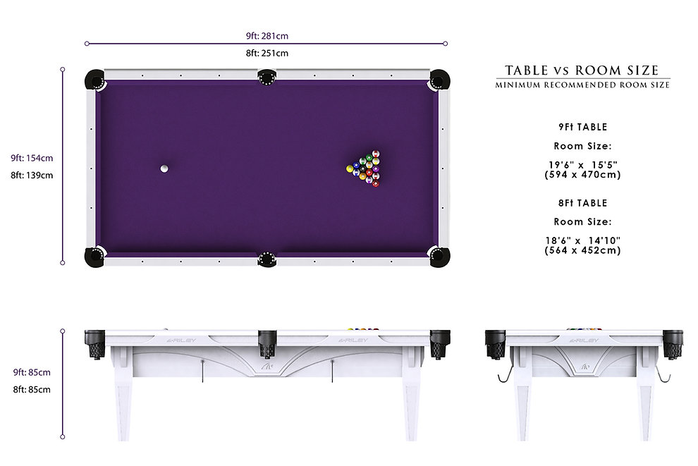 Riley Ray American Pool Table Dimensions