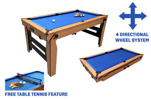 BCE Ft RollingLay Flat Folding Pool Table - Rolling pool table