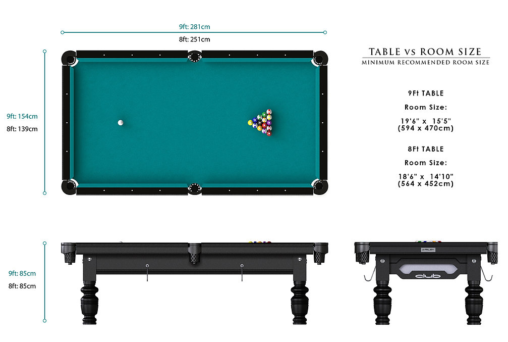 Riley Club American Pool Table Dimensions