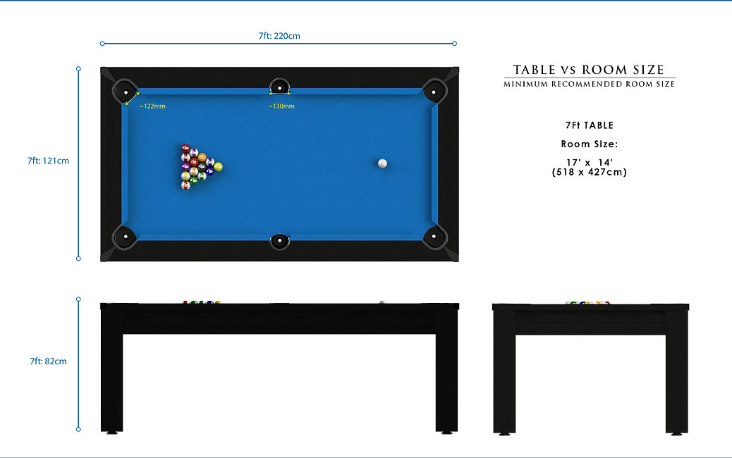 Riley Ray Tournament American Pool Table Dimensions