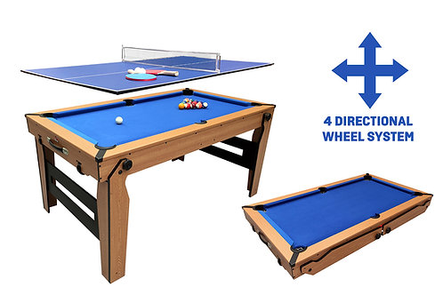 BCE 5Ft 2 in 1 Lay Flat Folding Pool/Table Tennis Table