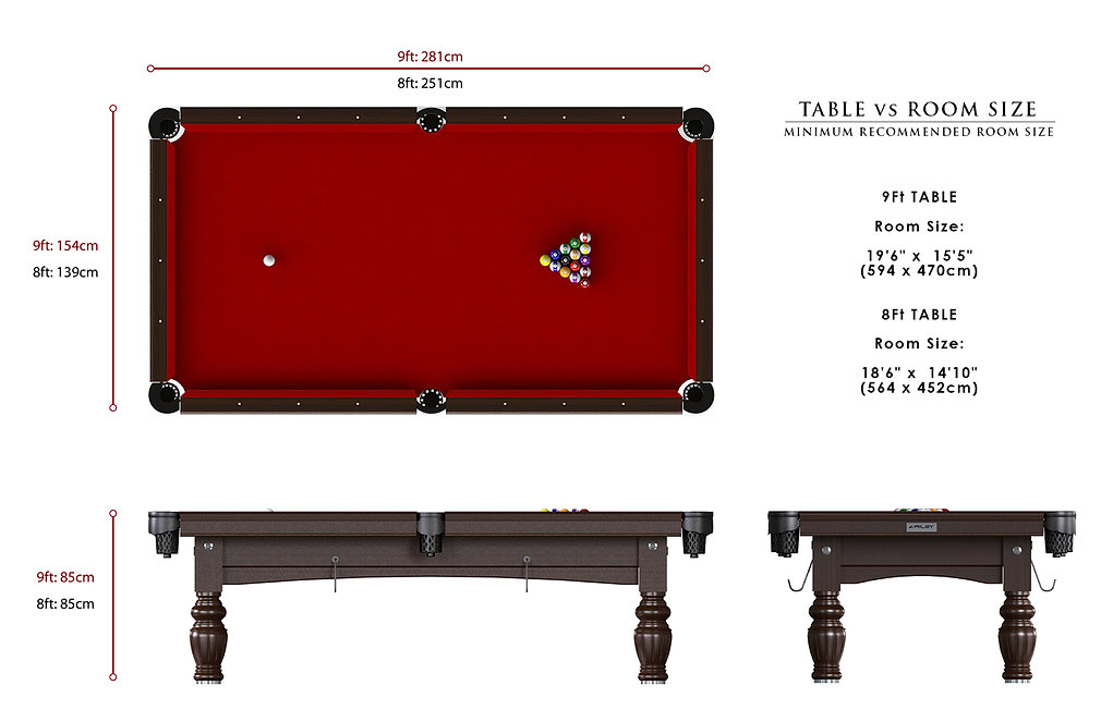 Riley Aristocrat American Pool Table Dimensions