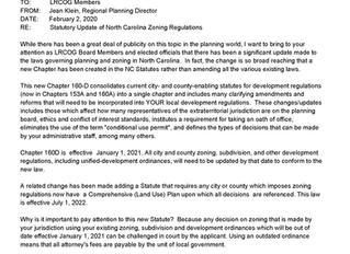 MEMORANDUM- Statutory Update of North Carolina Zoning Regulations
