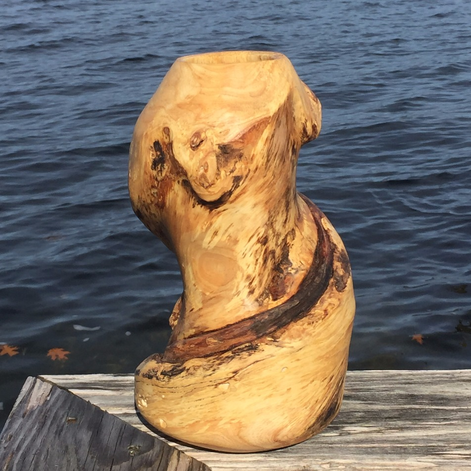 Turned and hollowed vase