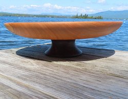 Pedestal Platter with Maple Top and Walnut Base