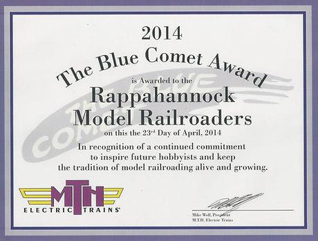 Blue Comet Award Certificate