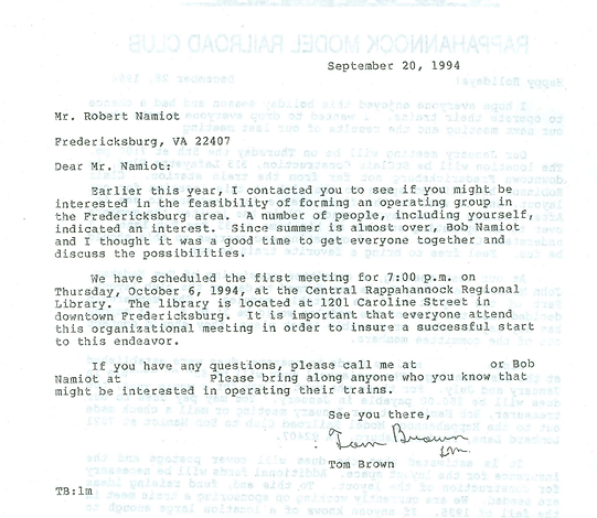 A historical letter from 1994 about creating Rappahannock Model Railroaders