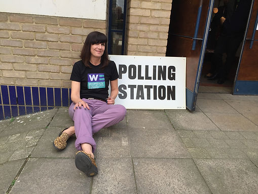Catherine Mayer at polling station