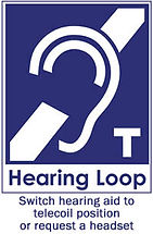 hearing loop sign with hearing aid and headset education headset
