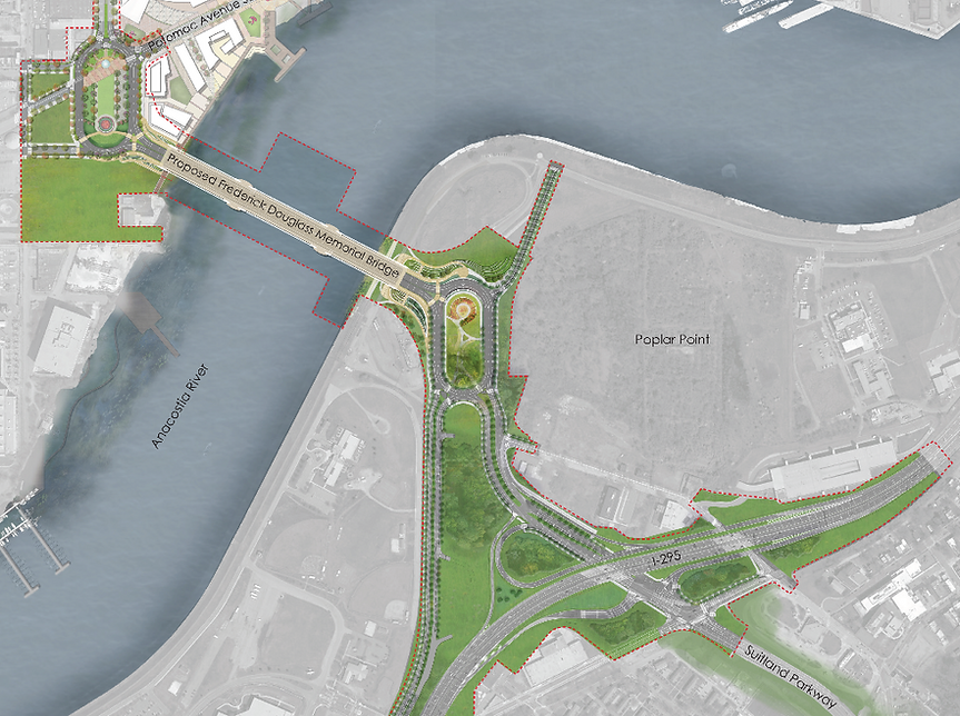 Map of Proposed Frederick Douglass Memorial Bridge Project