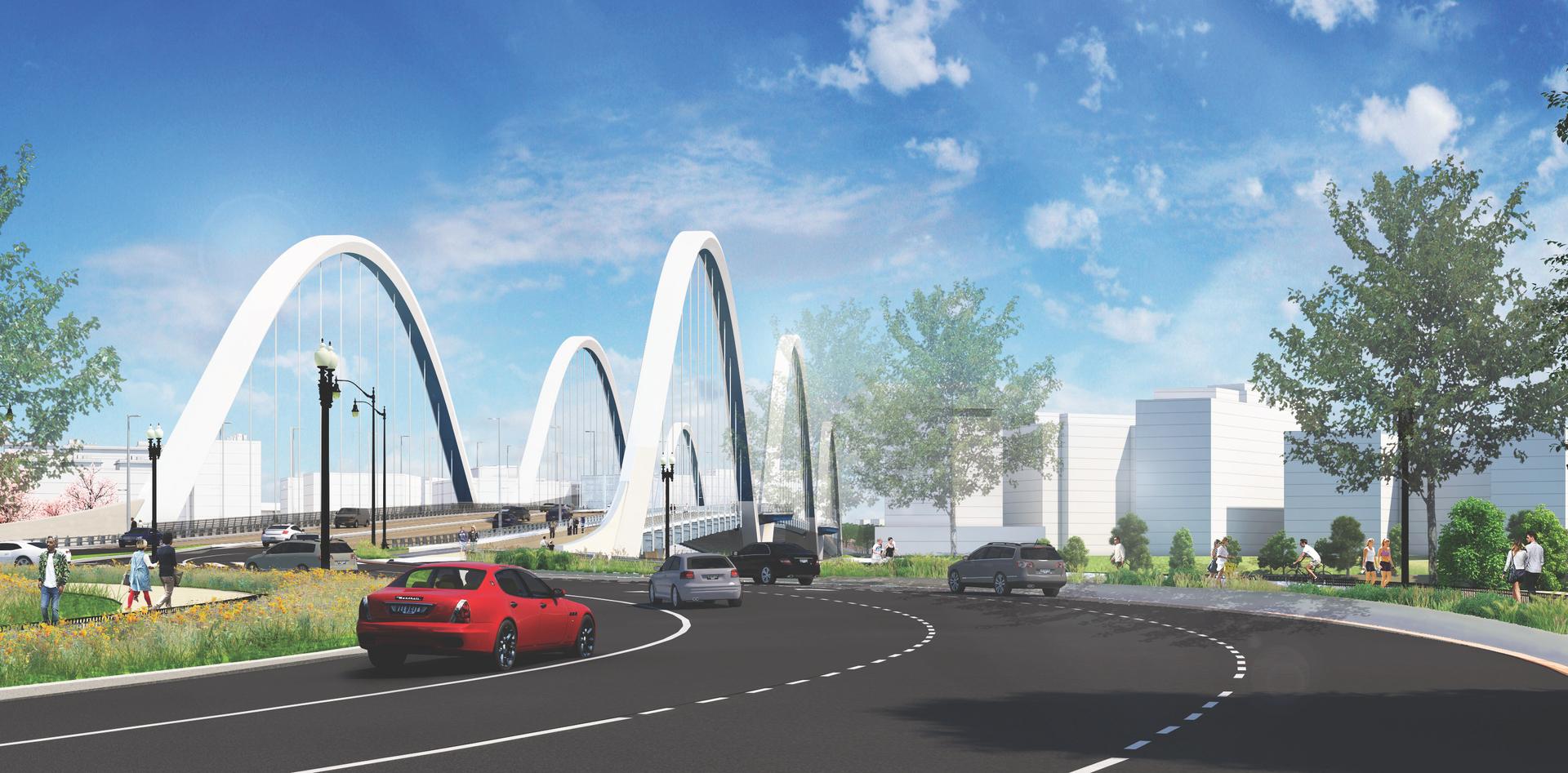 Design illustration of the new Frederick Douglass Memorial Bridge.