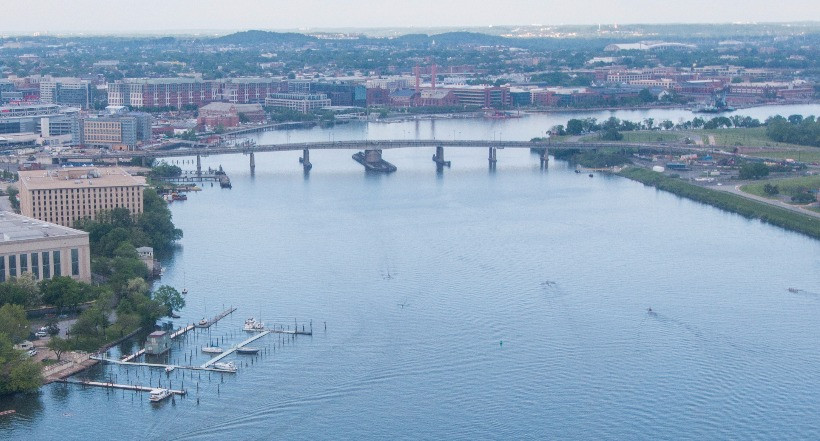 Photo of the existing Frederick Douglass Memorial Bridge.