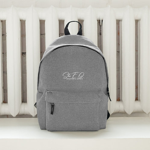 She E.O. Logo Embroidered Backpack