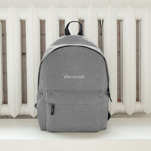 'She eo ish' Embroidered Backpack