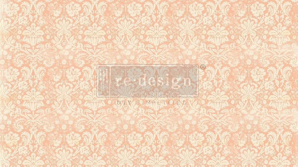 BRAND NEW 'Peach Damask' Decopage Decor Tissue - Redesign With Prim