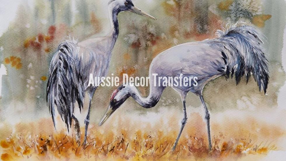 Desert Cranes - Self adhesive Decoupage Print - Large 59.4cm x 84cm