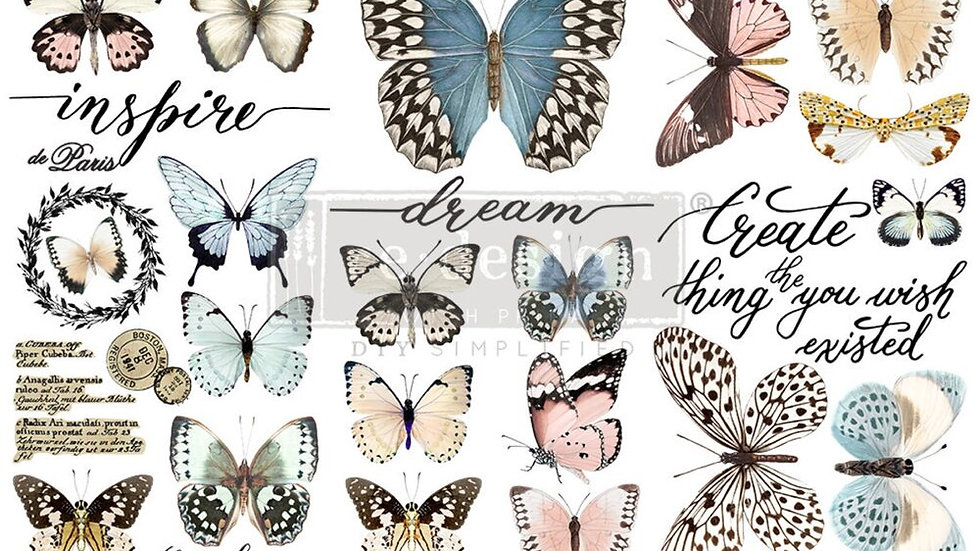 """'Papillon Collection' Small Transfer   Redesign With Prima   6"""" X 12"""""""