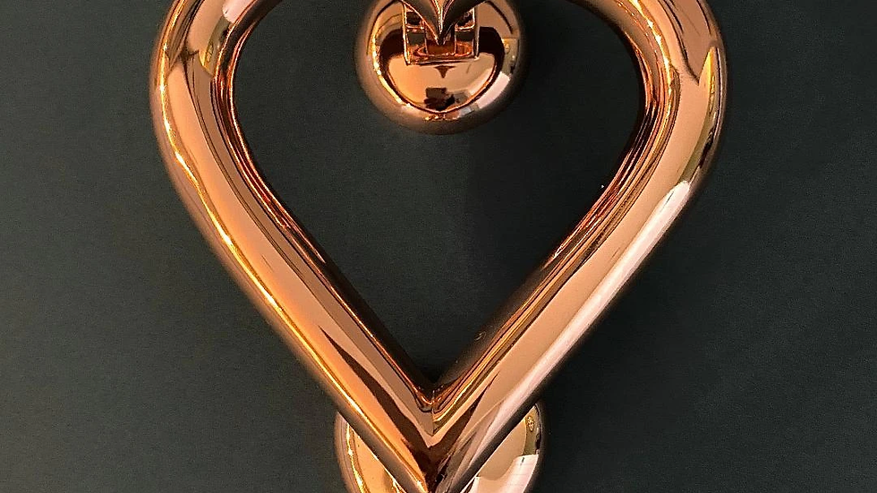 Door Knocker Love Heart Shaped - Rose Gold Finish