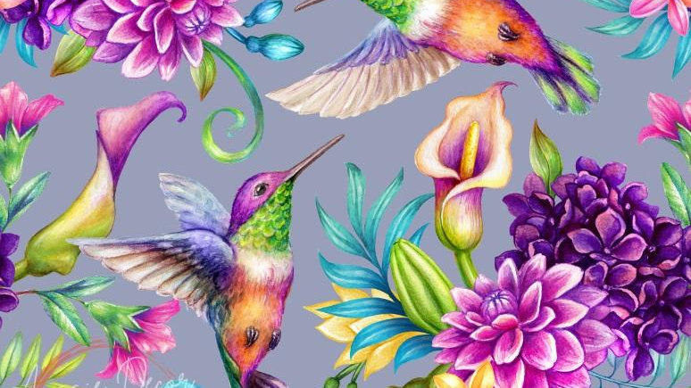Dance of the Hummingbirds - Luxe Decoupage Paper - 40gsm