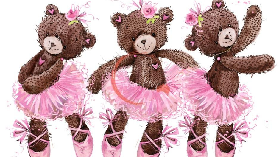 Ballerina Teddies - Luxe Decoupage Paper - 40gsm