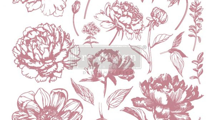 REDESIGN DECOR CLEAR-CLING STAMPS – LINEAR FLORAL – 12×12