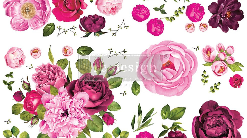 """BRAND NEW 'Lush Floral I' Decor Transfer - Redesign With Prima - 48""""x35"""""""