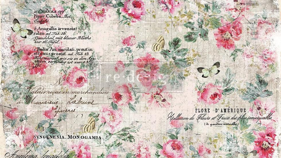 BRAND NEW 'Floral Wallpaper' Decopage Decor Tissue - Redesign With Prima