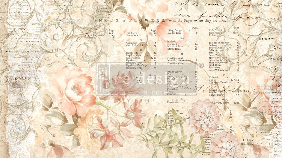 BRAND NEW 'Floral Parchment' Decopage Decor Tissue - Redesign With Prima