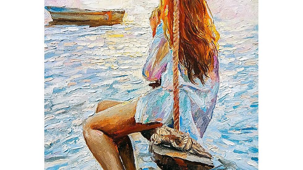 MINT by Michelle Decoupage Paper -  Girl On A Swing