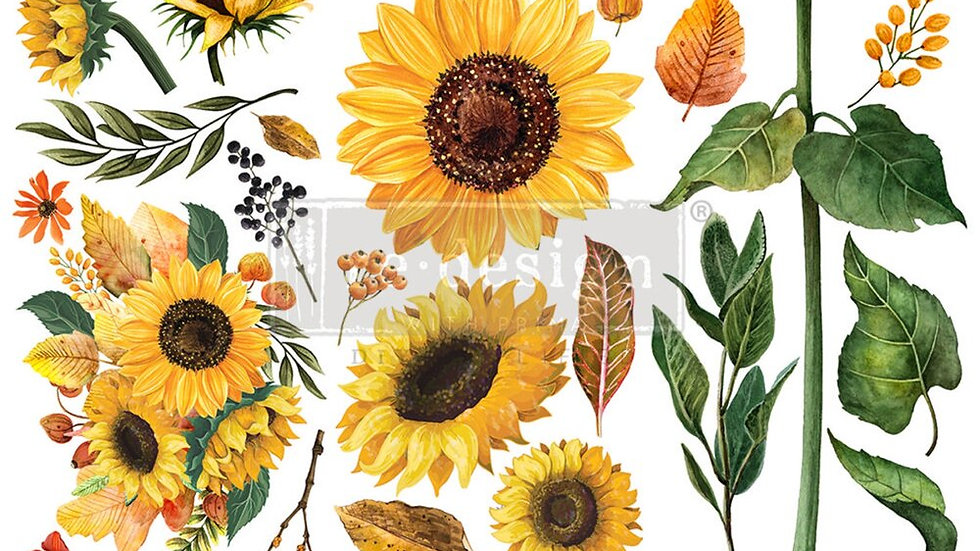 """'Sunflower Afternoon' Small Transfer   Redesign With Prima   6"""" X 12"""""""