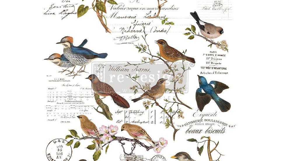 "BRAND NEW 'Postal Birds' Decor Transfer - Redesign With Prima - 24""x35"""