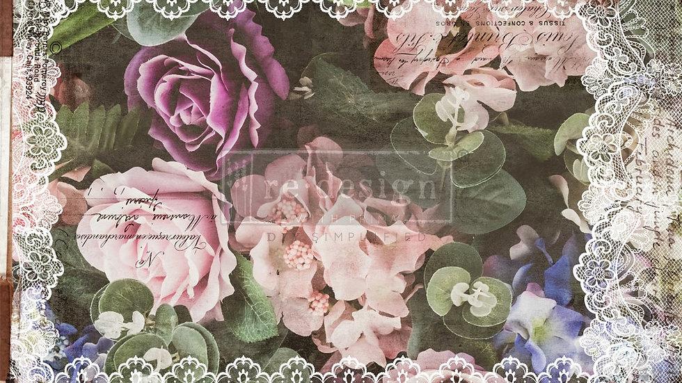 BRAND NEW 'Dark Lace Floral' Decopage Decor Tissue - Redesign With Pr