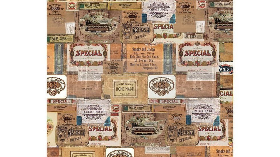 """'Vintage Cigarbox' Decor Transfer 