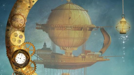Steampunk Crescent Moonflight - Luxe Decoupage Paper 40gsm
