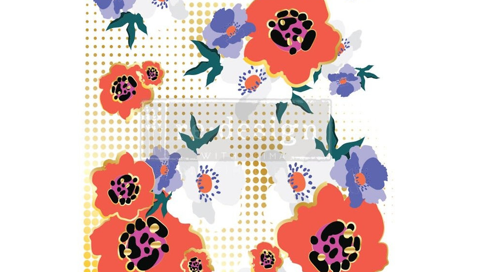 """CeCe 'Modernist Floral' Decor Transfer   Redesign With Prima   Large 24"""" X 35"""""""