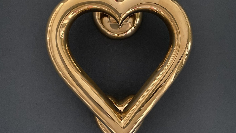 Door Knocker Love Heart Shaped - Brass Finish