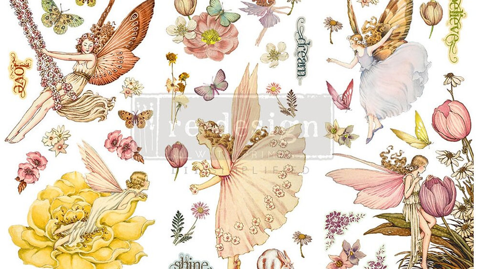 """'Fairy Flowers' Small Transfer   Redesign With Prima   6"""" X 12"""""""
