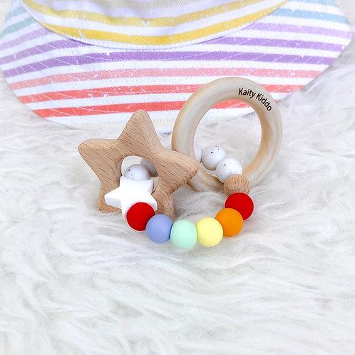 Rainbow Star Rattle Teether