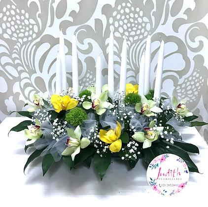 F51- 9 velas con orquídeas