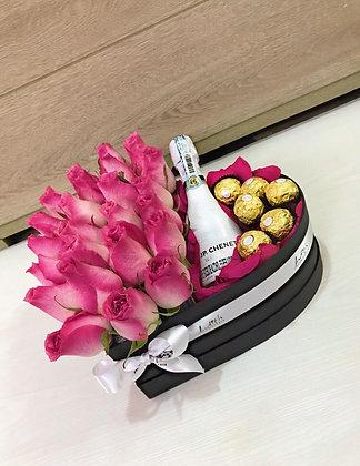 T96- Corazón champagne y chocolates