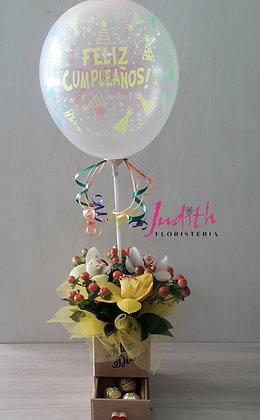 T113- Cajón pequeño con orquídeas y chocolates
