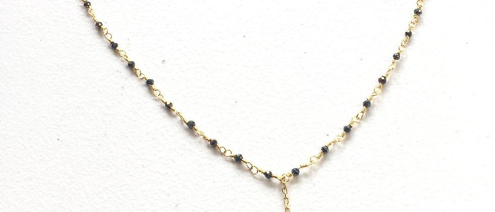 Collier Lariat perles Noires et Lune