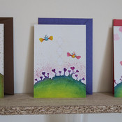 Greeting card: hearts with butterflybirds