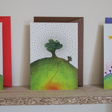 Greeting card: tree and Earth