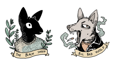 Wolf and sheep, digital illustrations