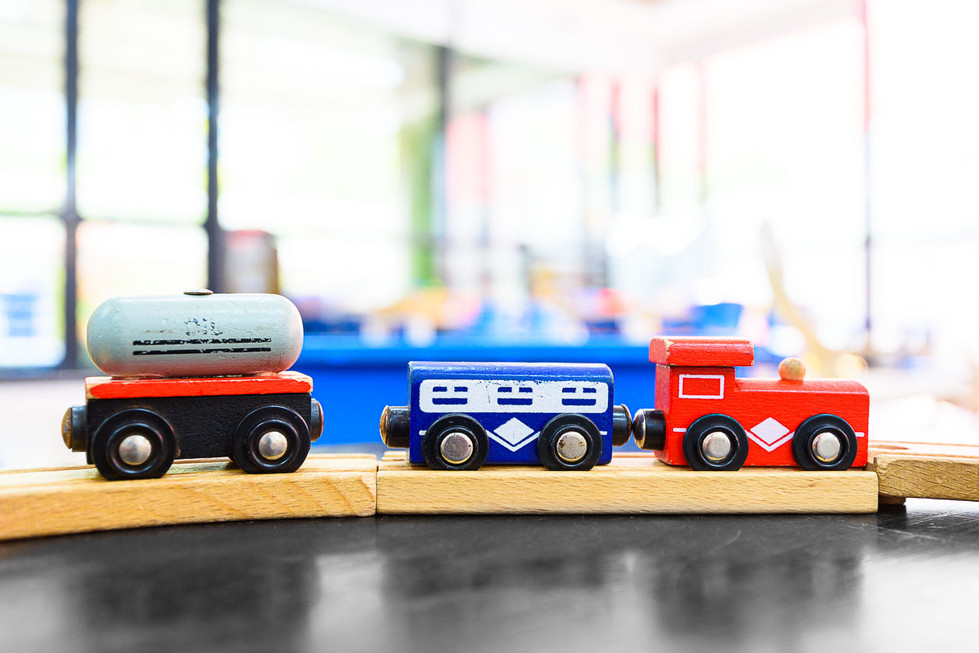 Train set at World Tower Child Care